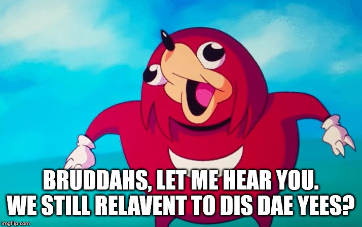 we still here bruddahs |  BRUDDAHS, LET ME HEAR YOU. WE STILL RELAVENT TO DIS DAE YEES? | image tagged in ugandan knuckles,funny meme,funny,dead memes,do you know da wae,2020 | made w/ Imgflip meme maker