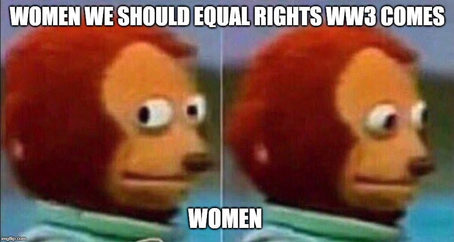 Monkey looking away | WOMEN WE SHOULD EQUAL RIGHTS WW3 COMES WOMEN | image tagged in monkey looking away | made w/ Imgflip meme maker