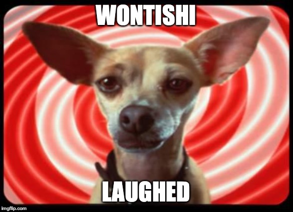 WONTISHI LAUGHED | image tagged in taco bell dog | made w/ Imgflip meme maker