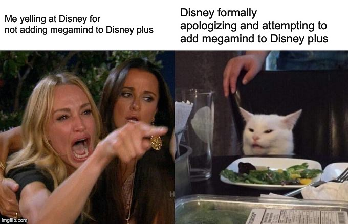 Woman Yelling At Cat Meme | Me yelling at Disney for not adding megamind to Disney plus Disney formally apologizing and attempting to add megamind to Disney plus | image tagged in memes,woman yelling at cat | made w/ Imgflip meme maker