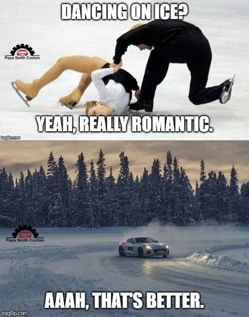 Dancing on ice. | image tagged in ice skating,dancing,driving,car drift meme,car memes,romantic | made w/ Imgflip meme maker