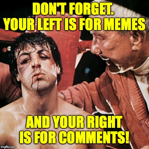 Memer defend thyself!  ( : | DON'T FORGET.  YOUR LEFT IS FOR MEMES AND YOUR RIGHT IS FOR COMMENTS! | image tagged in memes,rocky,comments,trolls,memer defend thyself | made w/ Imgflip meme maker