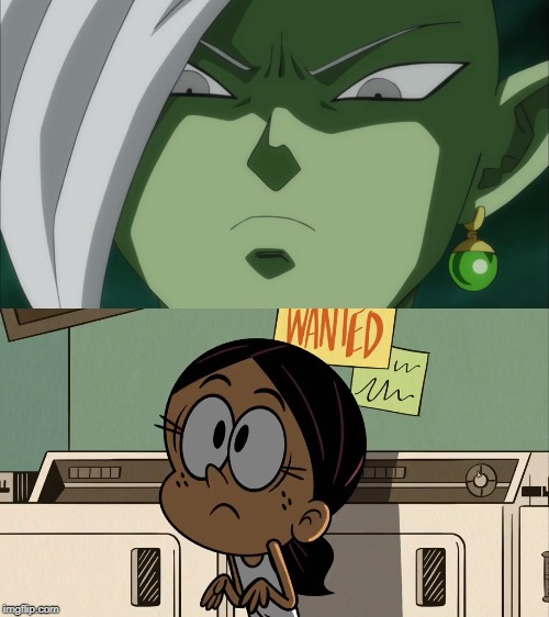 Future Zamasu glares at Ronnie Anne | image tagged in the loud house,dragon ball super | made w/ Imgflip meme maker