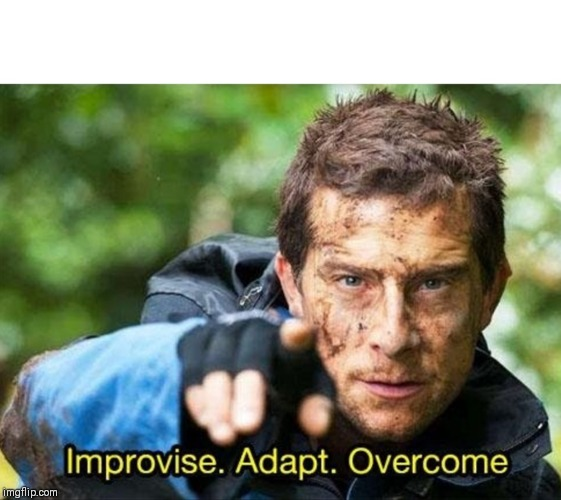 image tagged in bear grylls improvise adapt overcome | made w/ Imgflip meme maker