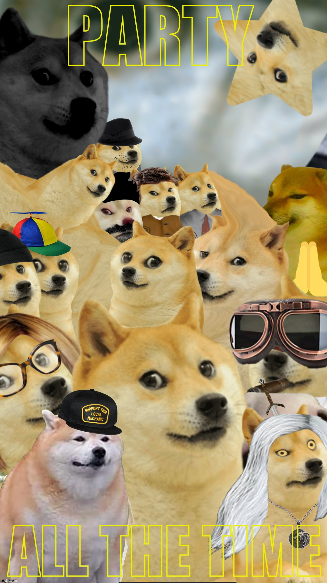 Doge Party | PARTY ALL THE TIME | image tagged in doge,multi doge,sunglass doge,advice doge,happy doge | made w/ Imgflip meme maker