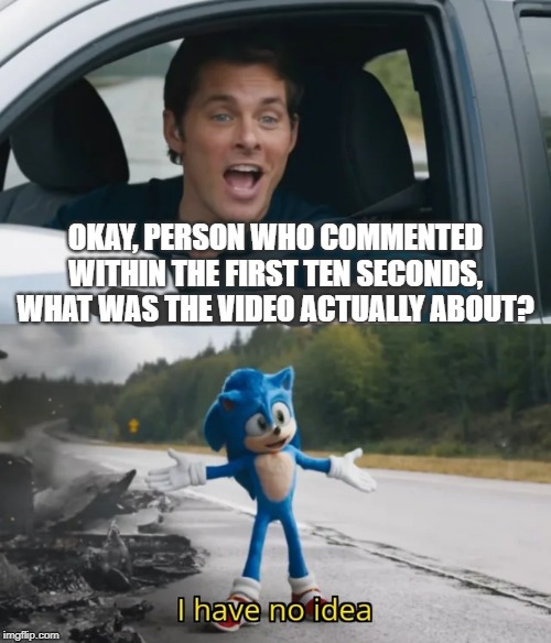 Sonic I have no idea | OKAY, PERSON WHO COMMENTED WITHIN THE FIRST TEN SECONDS, WHAT WAS THE VIDEO ACTUALLY ABOUT? | image tagged in sonic i have no idea | made w/ Imgflip meme maker