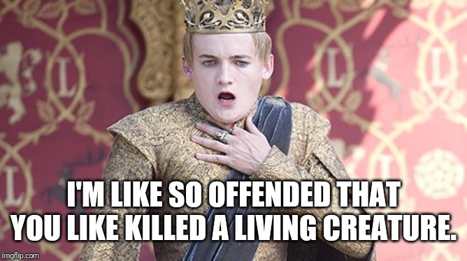 Offended | I'M LIKE SO OFFENDED THAT YOU LIKE KILLED A LIVING CREATURE. | image tagged in offended | made w/ Imgflip meme maker