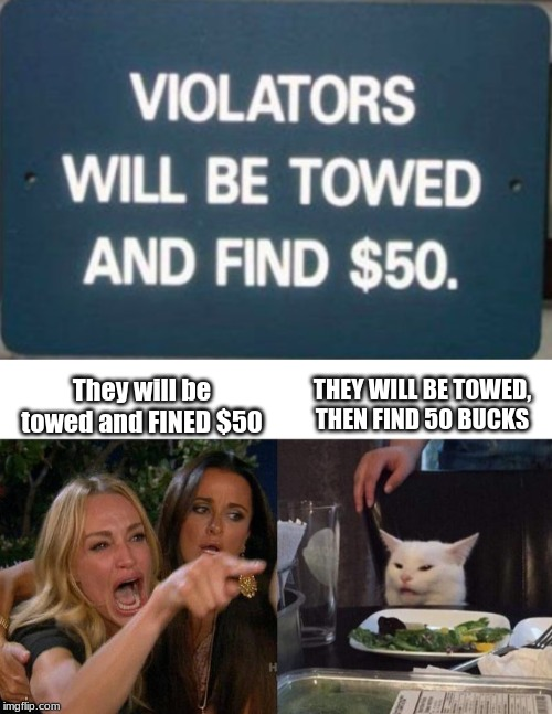 THEY WILL BE TOWED, THEN FIND 50 BUCKS They will be towed and FINED $50 | image tagged in memes,woman yelling at cat | made w/ Imgflip meme maker