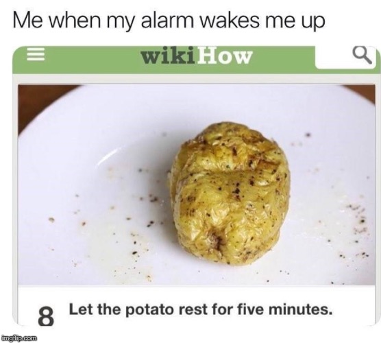 repost | image tagged in let the potato rest,for five minutes | made w/ Imgflip meme maker