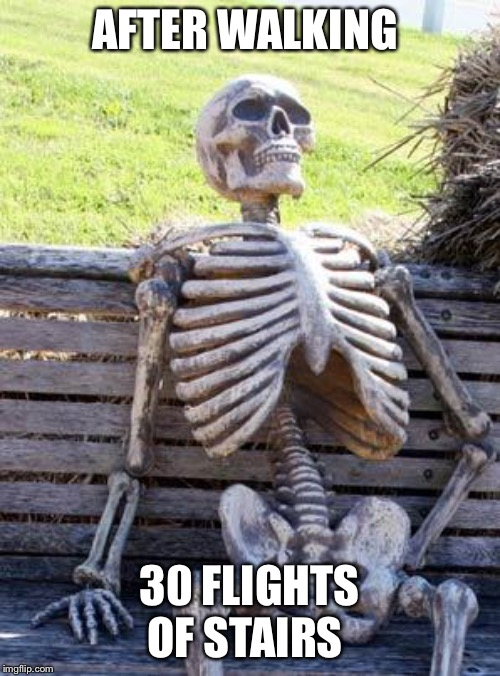 Waiting Skeleton | AFTER WALKING 30 FLIGHTS OF STAIRS | image tagged in memes,waiting skeleton | made w/ Imgflip meme maker
