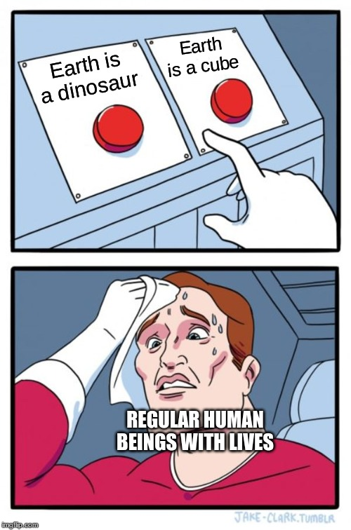 Two Buttons Meme | Earth is a dinosaur Earth is a cube REGULAR HUMAN BEINGS WITH LIVES | image tagged in memes,two buttons | made w/ Imgflip meme maker