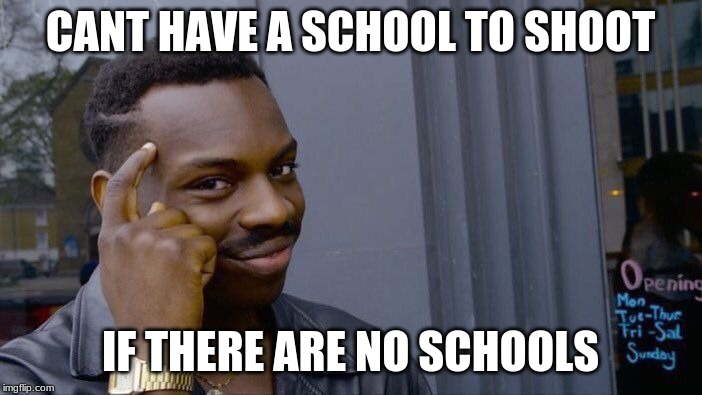 Roll Safe Think About It Meme | CANT HAVE A SCHOOL TO SHOOT IF THERE ARE NO SCHOOLS | image tagged in memes,roll safe think about it | made w/ Imgflip meme maker