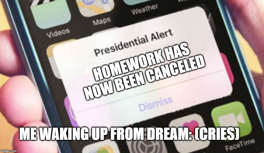 Presidential Alert Meme | HOMEWORK HAS NOW BEEN CANCELED ME WAKING UP FROM DREAM: (CRIES) | image tagged in memes,presidential alert | made w/ Imgflip meme maker