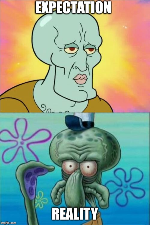 Squidward Meme | EXPECTATION REALITY | image tagged in memes,squidward | made w/ Imgflip meme maker
