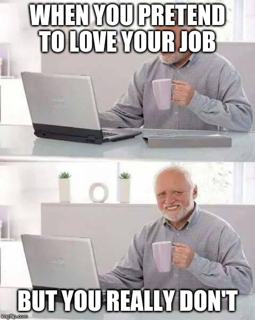 Hide the Pain Harold Meme | WHEN YOU PRETEND TO LOVE YOUR JOB BUT YOU REALLY DON'T | image tagged in memes,hide the pain harold | made w/ Imgflip meme maker