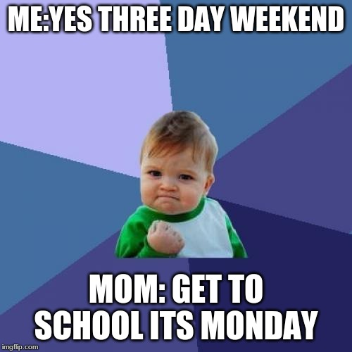 Success Kid | ME:YES THREE DAY WEEKEND MOM: GET TO SCHOOL ITS MONDAY | image tagged in memes,success kid | made w/ Imgflip meme maker