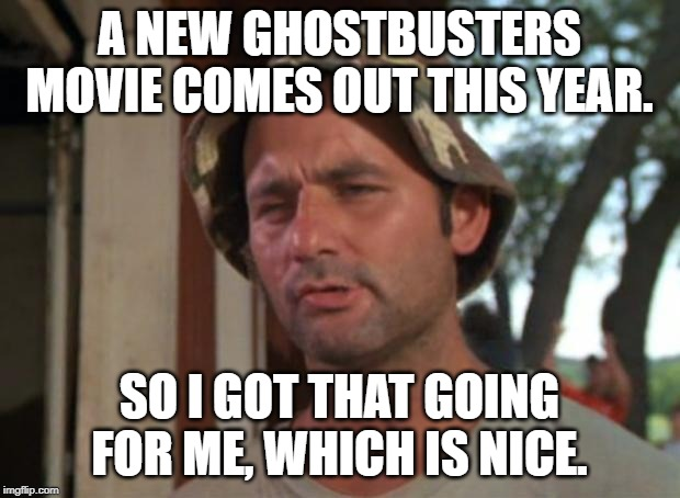 So I Got That Goin For Me Which Is Nice Meme | A NEW GHOSTBUSTERS MOVIE COMES OUT THIS YEAR. SO I GOT THAT GOING FOR ME, WHICH IS NICE. | image tagged in memes,so i got that goin for me which is nice | made w/ Imgflip meme maker