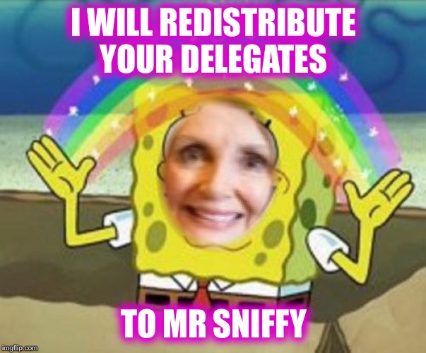 I WILL REDISTRIBUTE YOUR DELEGATES TO MR SNIFFY | made w/ Imgflip meme maker