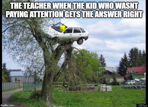 Secure Parking Meme | THE TEACHER WHEN THE KID WHO WASNT PAYING ATTENTION GETS THE ANSWER RIGHT | image tagged in memes,secure parking | made w/ Imgflip meme maker