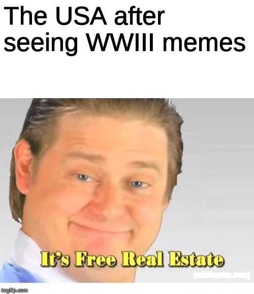 It's Free Real Estate | The USA after seeing WWIII memes | image tagged in it's free real estate | made w/ Imgflip meme maker