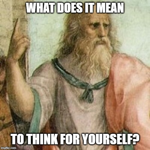It's advice we hear all the time: but what does it mean? |  WHAT DOES IT MEAN; TO THINK FOR YOURSELF? | image tagged in philosopher,philosophy,thinking,think,conspiracy theories,thinking meme | made w/ Imgflip meme maker