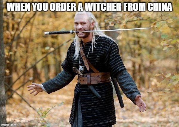 Witcher from China | WHEN YOU ORDER A WITCHER FROM CHINA | image tagged in geralt,witcher,witcher 3,china,thewitcher,netflix | made w/ Imgflip meme maker