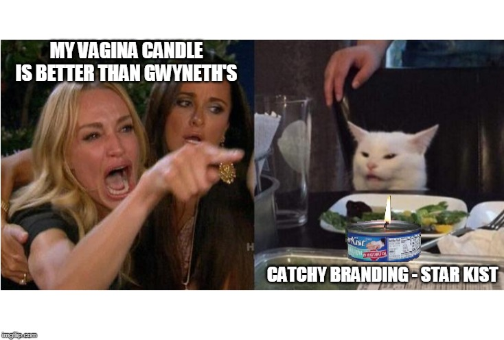 BE the Candle | MY VA**NA CANDLE IS BETTER THAN GWYNETH'S CATCHY BRANDING - STAR KIST | image tagged in gwyneth paltrow,smudge the cat,lady yelling at cat,hollywood liberals | made w/ Imgflip meme maker