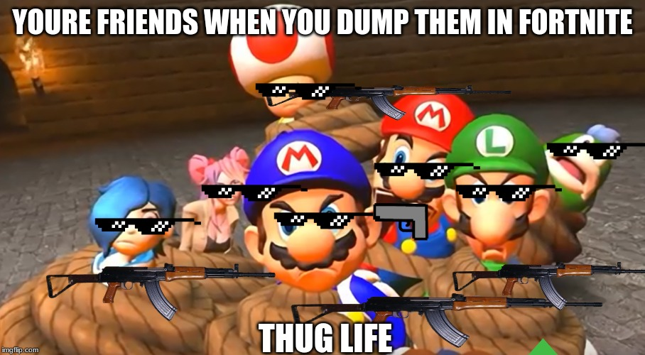 When you really screw up in SMG4 | YOURE FRIENDS WHEN YOU DUMP THEM IN FORTNITE THUG LIFE | image tagged in when you really screw up in smg4 | made w/ Imgflip meme maker