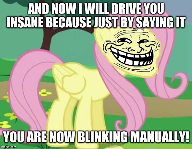 Fluttertroll | AND NOW I WILL DRIVE YOU INSANE BECAUSE JUST BY SAYING IT YOU ARE NOW BLINKING MANUALLY! | image tagged in fluttertroll | made w/ Imgflip meme maker