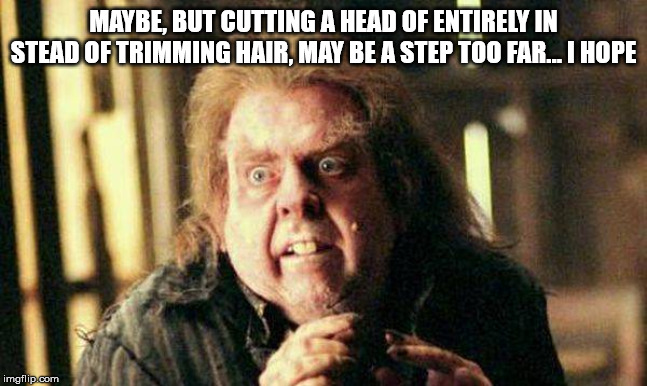Peter Pettigrew In Fear | MAYBE, BUT CUTTING A HEAD OF ENTIRELY IN STEAD OF TRIMMING HAIR, MAY BE A STEP TOO FAR... I HOPE | image tagged in peter pettigrew in fear | made w/ Imgflip meme maker