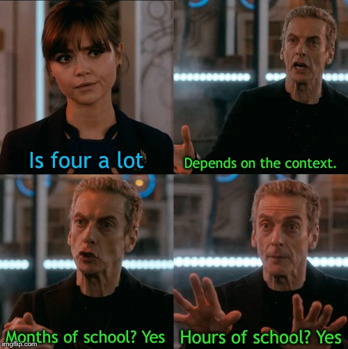 School lasts for too long |  Is four a lot; Depends on the context. Hours of school? Yes; Months of school? Yes | image tagged in is four a lot,school | made w/ Imgflip meme maker