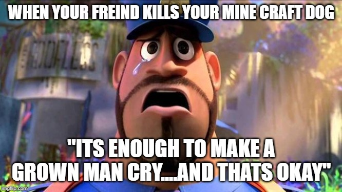 "WHEN YOUR FREIND KILLS YOUR MINE CRAFT DOG ""ITS ENOUGH TO MAKE A GROWN MAN CRY....AND THATS OKAY"" 