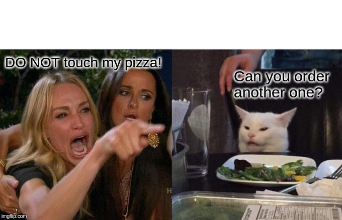 Woman Yelling At Cat Meme | DO NOT touch my pizza! Can you order another one? | image tagged in memes,woman yelling at cat | made w/ Imgflip meme maker