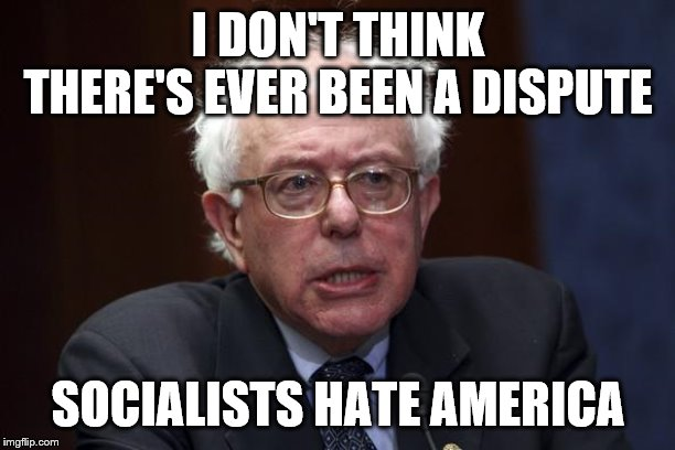 Bernie Sanders | I DON'T THINK THERE'S EVER BEEN A DISPUTE SOCIALISTS HATE AMERICA | image tagged in bernie sanders | made w/ Imgflip meme maker