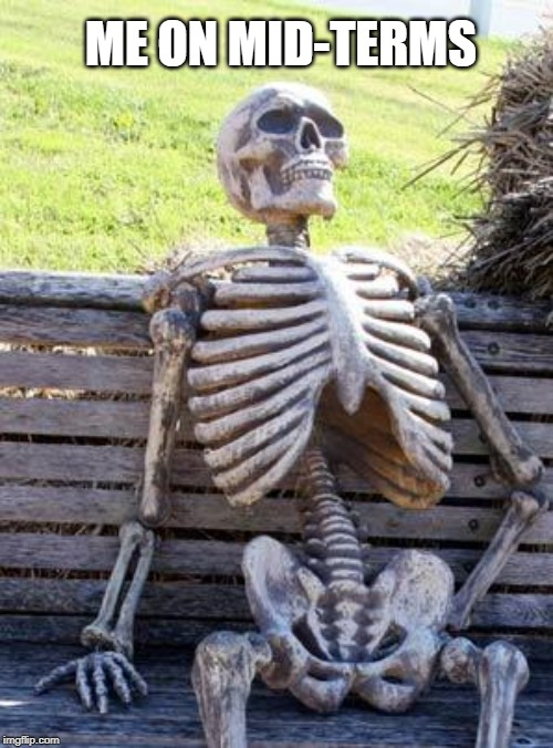 mid-terms | ME ON MID-TERMS | image tagged in memes,waiting skeleton | made w/ Imgflip meme maker