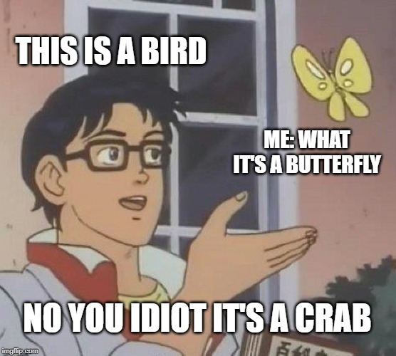 Is This A Pigeon Meme | THIS IS A BIRD ME: WHAT IT'S A BUTTERFLY NO YOU IDIOT IT'S A CRAB | image tagged in memes,is this a pigeon | made w/ Imgflip meme maker