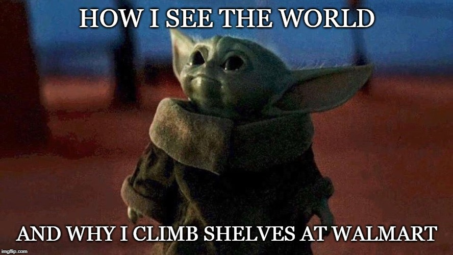 How I see the world | HOW I SEE THE WORLD AND WHY I CLIMB SHELVES AT WALMART | image tagged in baby yoda,short people | made w/ Imgflip meme maker