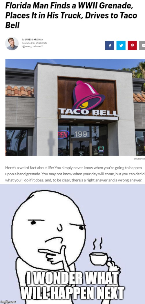 I WONDER WHAT WILL HAPPEN NEXT | image tagged in thinking meme,funny,memes,taco bell,grenade,wwii | made w/ Imgflip meme maker