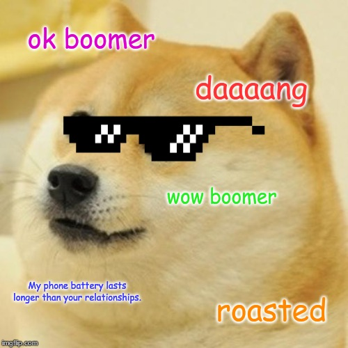 Doge |  ok boomer; daaaang; wow boomer; My phone battery lasts longer than your relationships. roasted | image tagged in memes,doge | made w/ Imgflip meme maker