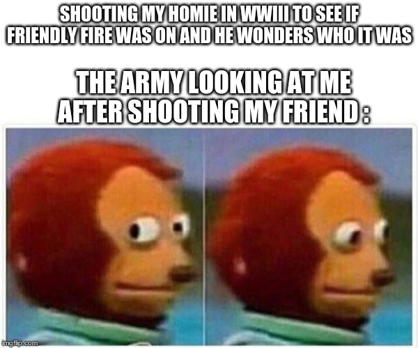 monkey puppet | SHOOTING MY HOMIE IN WWIII TO SEE IF FRIENDLY FIRE WAS ON AND HE WONDERS WHO IT WAS THE ARMY LOOKING AT ME AFTER SHOOTING MY FRIEND : | image tagged in monkey puppet | made w/ Imgflip meme maker