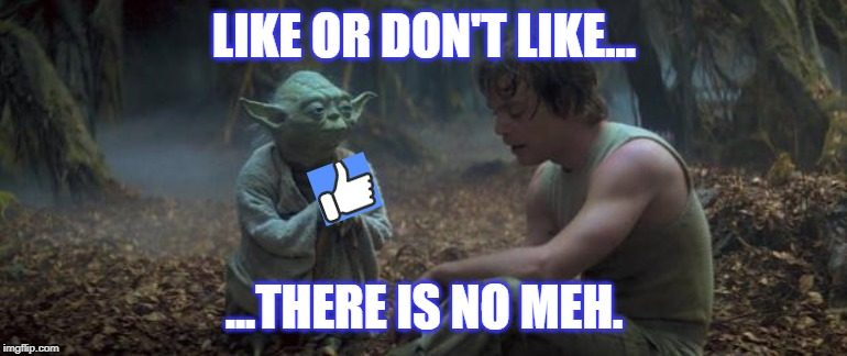 Like,Like,Like! | LIKE OR DON'T LIKE... ...THERE IS NO MEH. | image tagged in yoda schools | made w/ Imgflip meme maker