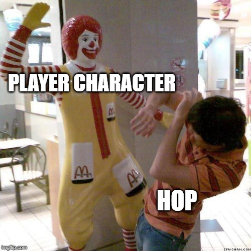 Pokemon Sword and Shield in a nutshell |  PLAYER CHARACTER; HOP | image tagged in mcdonald slap,pokemon,pokemon sword and shield | made w/ Imgflip meme maker