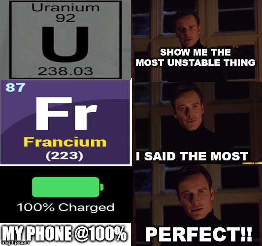 perfection | SHOW ME THE MOST UNSTABLE THING I SAID THE MOST PERFECT!! MY PHONE @100% | image tagged in perfection | made w/ Imgflip meme maker