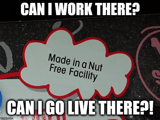 Nut free facility? | CAN I WORK THERE? CAN I GO LIVE THERE?! | image tagged in nut free facility | made w/ Imgflip meme maker