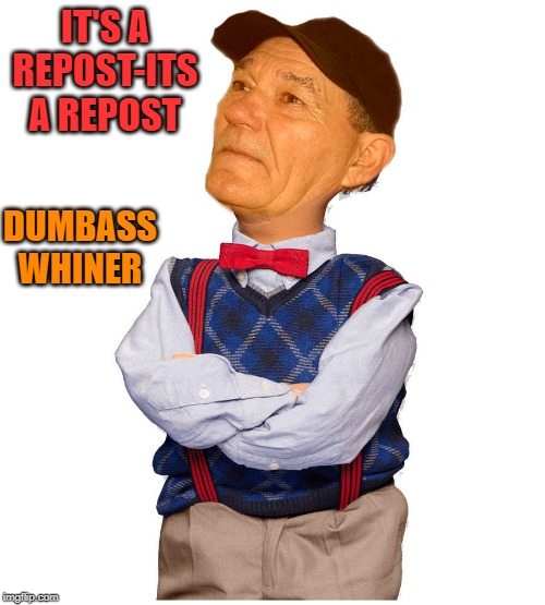 IT'S A REPOST-ITS A REPOST DUMBASS WHINER | image tagged in kewlew-walter | made w/ Imgflip meme maker