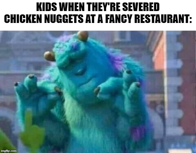 Sully shutdown | KIDS WHEN THEY'RE SEVERED CHICKEN NUGGETS AT A FANCY RESTAURANT: | image tagged in sully shutdown | made w/ Imgflip meme maker