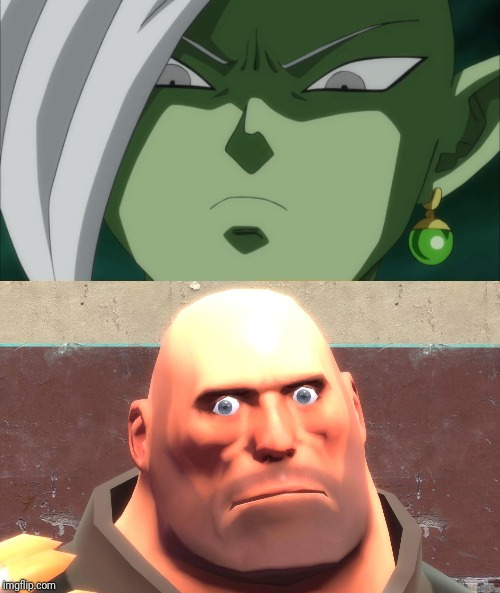 Future Zamatsu glares at Hoovy Pootis Man | image tagged in memes,funny,team fortress 2,dragon ball super,heavy,tf2 heavy | made w/ Imgflip meme maker