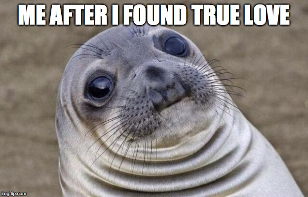 Awkward Moment Sealion Meme | ME AFTER I FOUND TRUE LOVE | image tagged in memes,awkward moment sealion | made w/ Imgflip meme maker