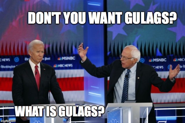 Sanders schooling Biden | DON'T YOU WANT GULAGS? WHAT IS GULAGS? | image tagged in gulag,sanders,biden,elections 2020 | made w/ Imgflip meme maker