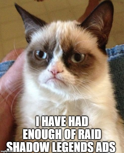 Grumpy Cat | I HAVE HAD ENOUGH OF RAID SHADOW LEGENDS ADS | image tagged in memes,grumpy cat | made w/ Imgflip meme maker